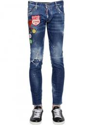 dsquared2 jeans uomo super patched bleached slim-fit 1995 logo patch cotton