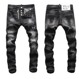 dsquared2 jeans uomo super patched bleached slim-fit black hole zipper
