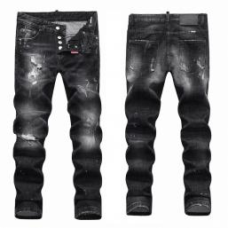 dsquared2 jeans uomo super patched bleached slim-fit black sale