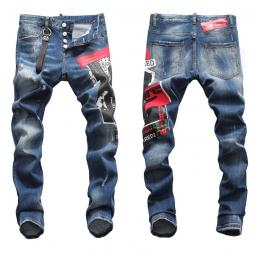 dsquared2 jeans uomo super patched bleached slim-fit blue print