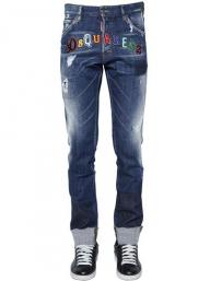 dsquared2 jeans uomo super patched bleached slim-fit cool guy blue