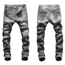 dsquared2 jeans uomo super patched bleached slim-fit gray