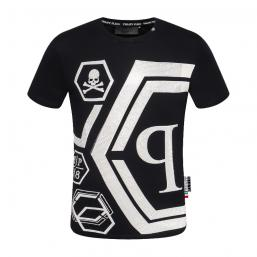 promos et ventes flash t-shirt philipp plein qp78 hexagon black