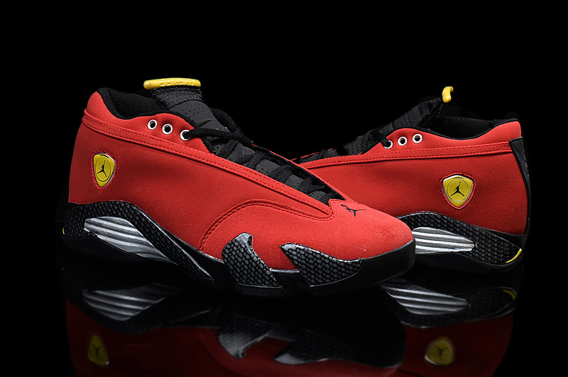 03e274b97486 ... sale ferrari air jordan 14 in yellow red all sizes empeigne daim rouge  4958f d6b0d