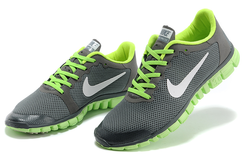 nike free 3.0 hommes mode chaussures course pas cher gris vert