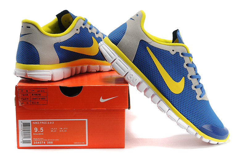 nike free 3.0 hommes mode chaussures course pas cher jaune bleu