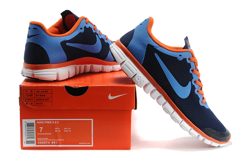 nike free 3.0 hommes mode chaussures course pas cher orange bleu