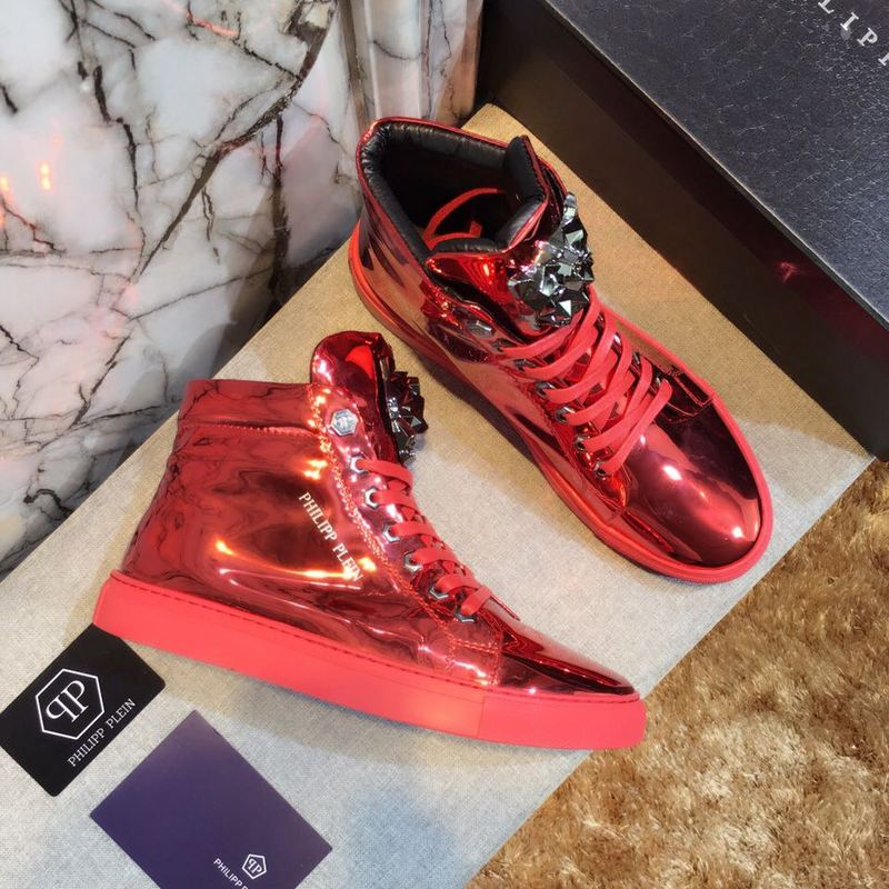 philipp plein man cuir baskets red patent leather
