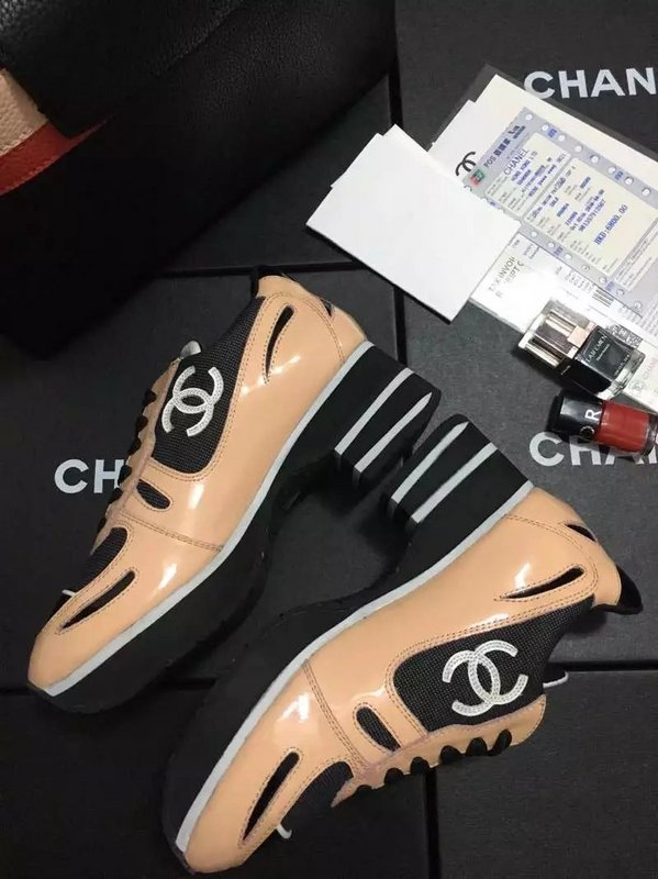 chanel chaussure donna ballerine leisure sports scarpe patent leather  apricot color 48227f7b395