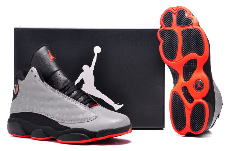 scarpe air jordan 13 uomo gris noir-rouge bottom