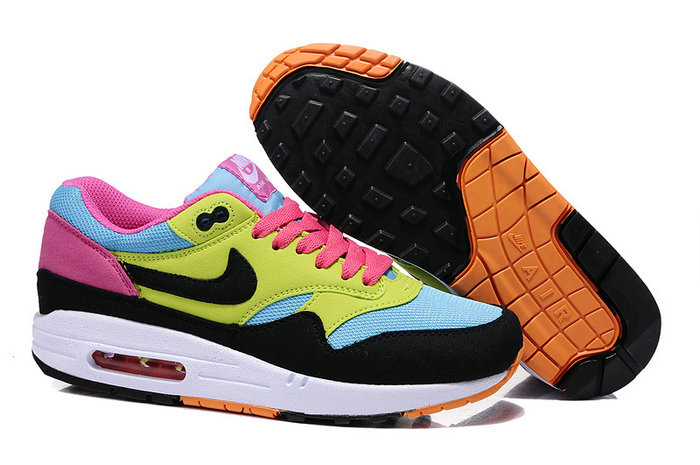 scarpe nike air max 1 id donna collection jaune bleu noir