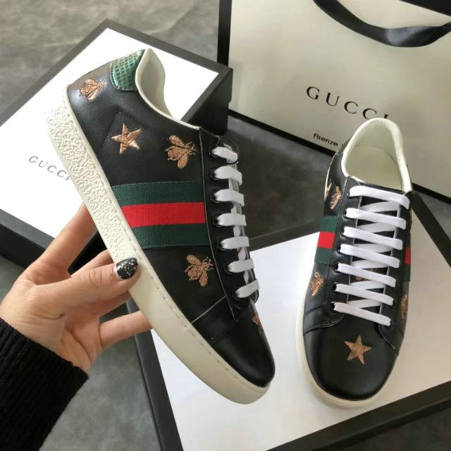 plus de photos 3a5fa e443f donna gucci baskets en cuir ace cowhide little bee black von ...