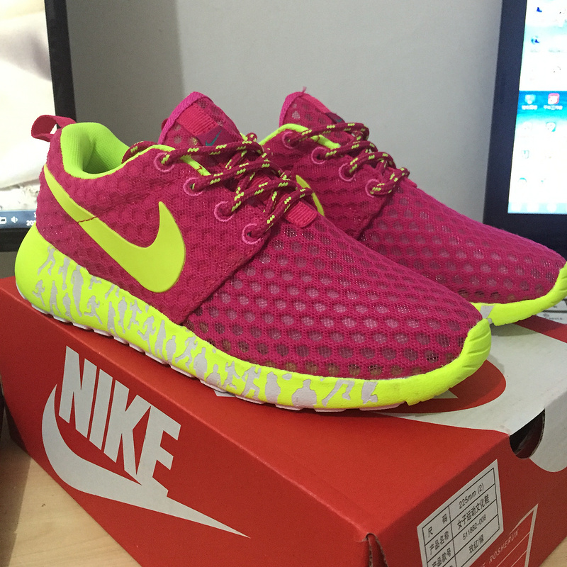 women nike roshe run 3m glow hyperfuse vert fluorescent rose