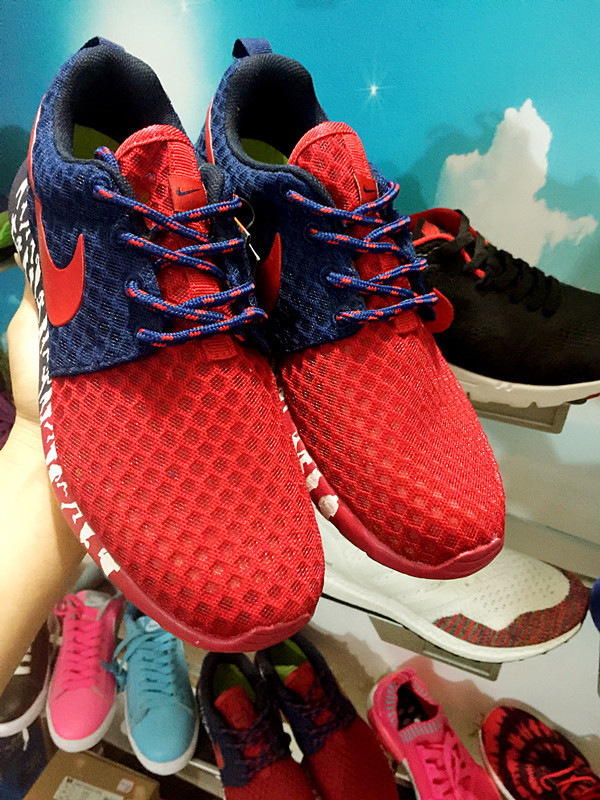 women nike roshe run 3m glow hyperfuse blue rouge