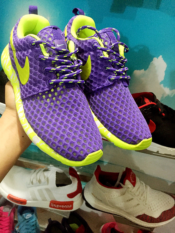 women nike roshe run 3m glow hyperfuse fluorescent purple